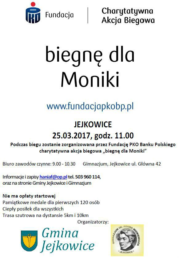 Bieg charytatywny dla Moniki - plakat