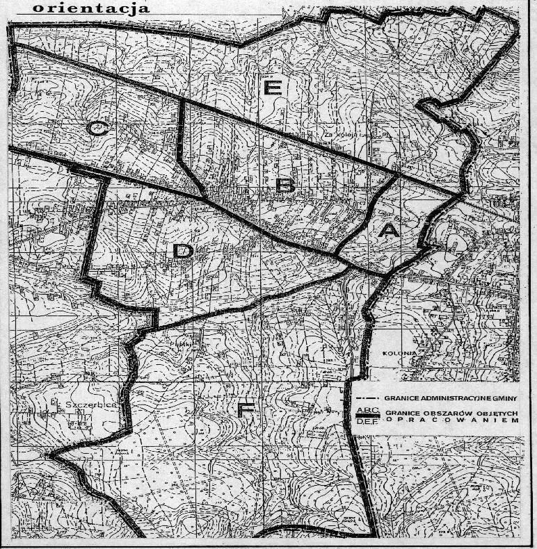 Mapa orientacyjna planu zagospodarowania przestrzennego gminy jejkowice