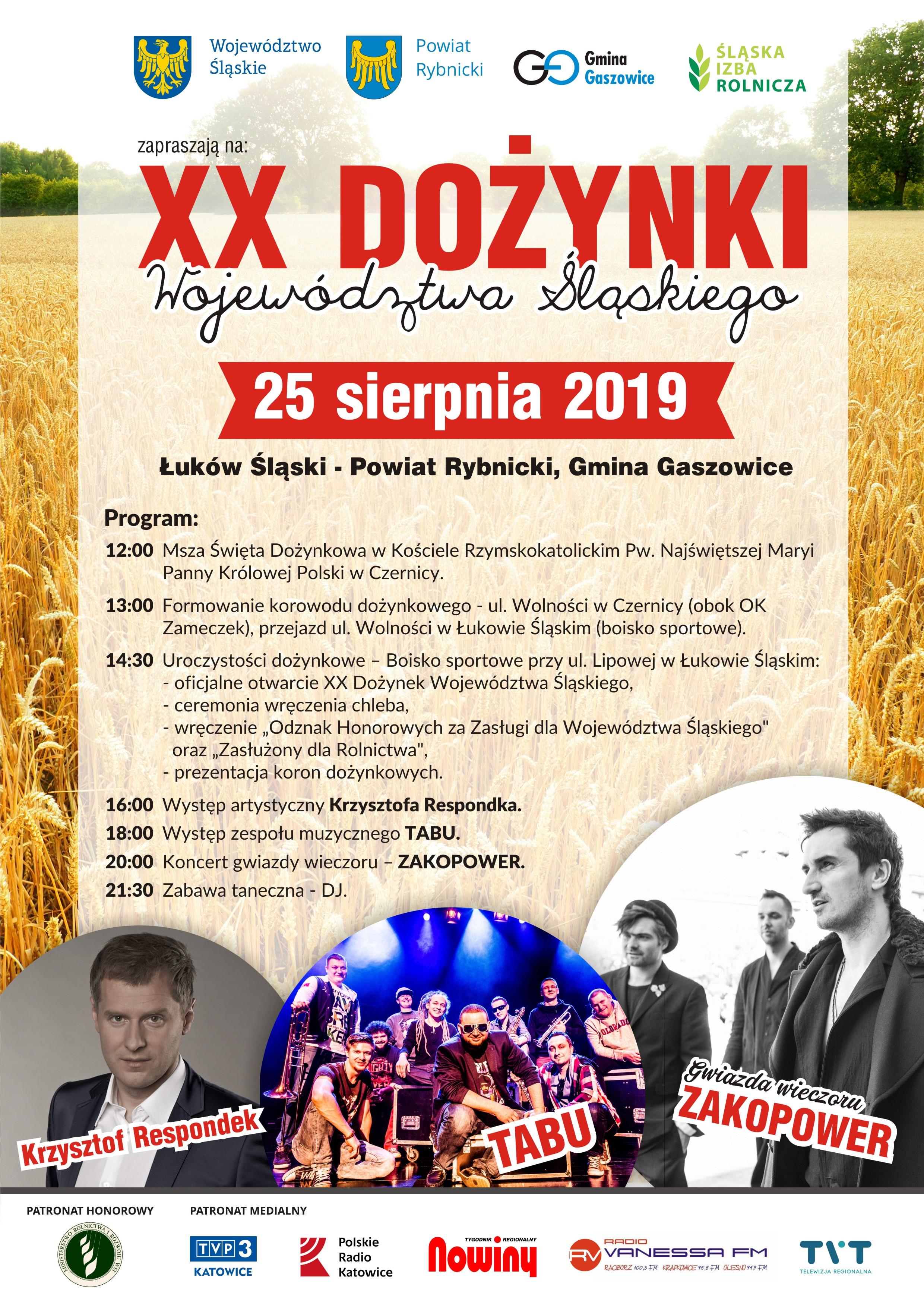 XX Dożynki Województwa Śląskiego 25 sierpnia 2019